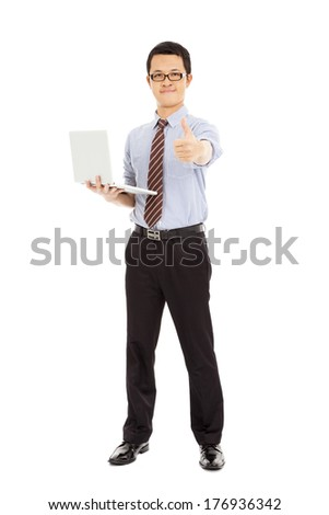 computer engineer is  standing and thumb up - stock photo