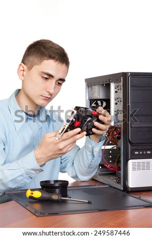 Computer engineer working at open Pc
