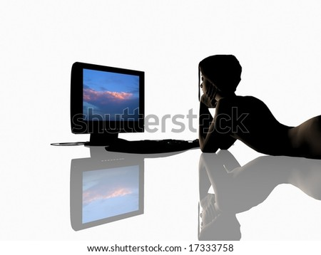 Computer engineering on a mirror background