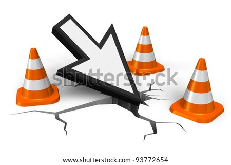 Computer error concept: mouse pointer in crack with orange traffic cones isolated on white background - stock photo