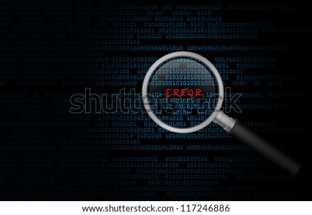 Computer error found in binary code with a search magnifying glass - stock photo