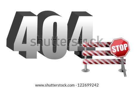 Computer error 404 illustration design over white - stock photo