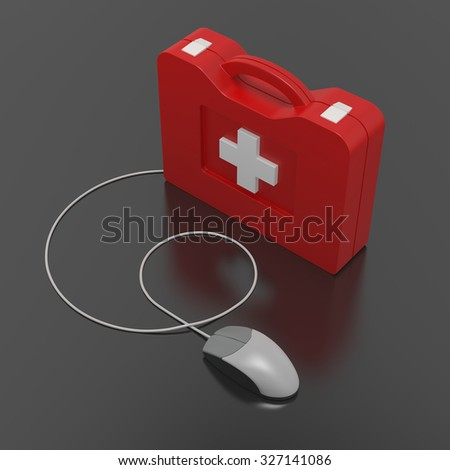 Computer First Aid Kit. Isolated On Black Background.