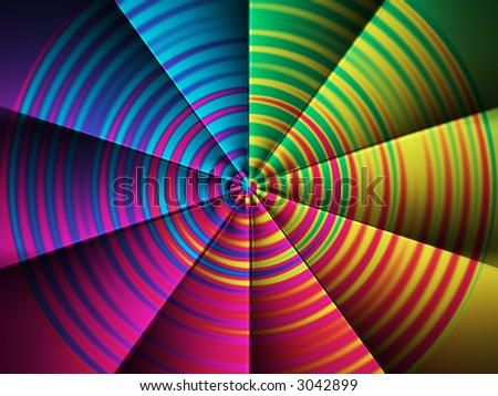 Computer generated abstract color fan. - stock photo