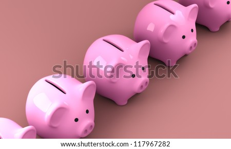 Computer generated and rendered image of pink piggy bank made of porcelain - stock photo