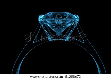 Computer generated blue diamond ring - stock photo