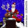 Computer-generated 3D cartoon illustration depicting Santa Claus on a rooftop with a reindeer and bag of toys - stock photo