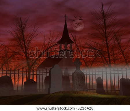 Computer-generated 3D graphic depicting a graveyard at night - stock photo