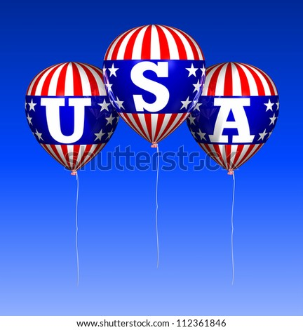 Computer-generated 3D illustration depicting floating patriotic balloons