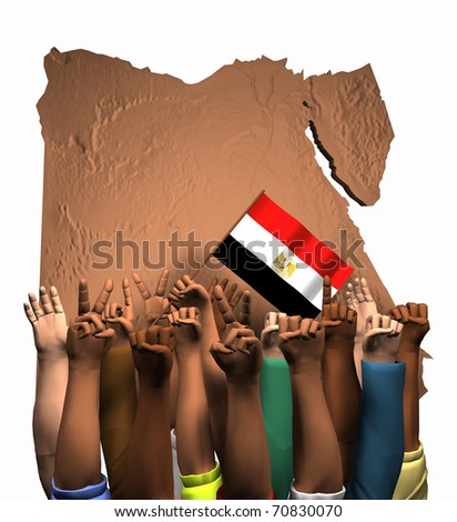 Computer-generated 3D illustration depicting the map of Egypt, the flag of Egypt and arms, fists and hands - stock photo
