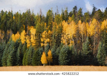 Computer generated digital art of an alpine forest of pine and aspen. - stock photo