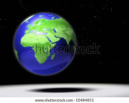 Computer generated Earth globe with Africa focus