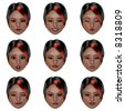 computer generated face with nine expressions Image contains a Clipping Path - stock vector