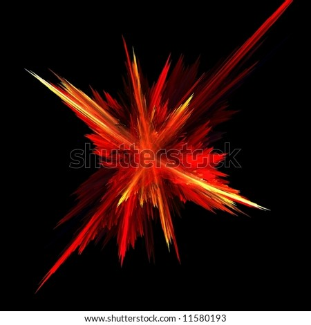 computer generated fractal explosion - stock photo