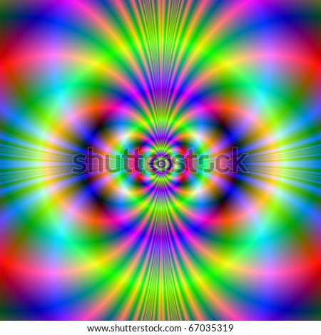 Computer generated fractal image with an abstract neon design in red blue and green. - stock photo