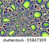 Computer generated fractal image with an abstract pebble design in lime green and blue. - stock photo