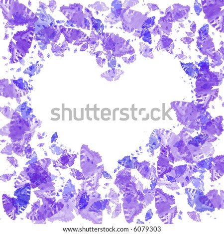 Computer generated frame  with violet butterflies - stock photo