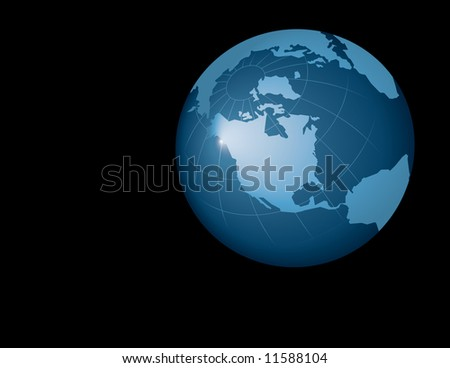 Computer generated globe graphic isolated on black background.