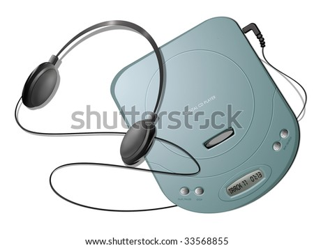 Computer-generated illustration: green portable CD player with headphones. Isolated object on white background - stock photo