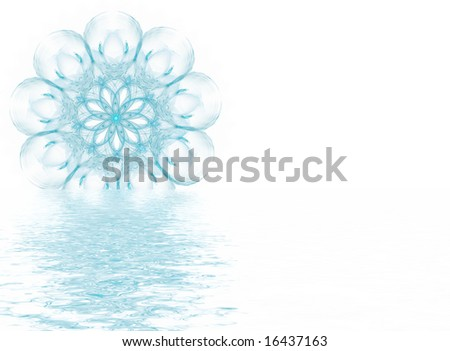 Computer generated illustration:melting blue snowflake isolated on white background.Clipping path included.