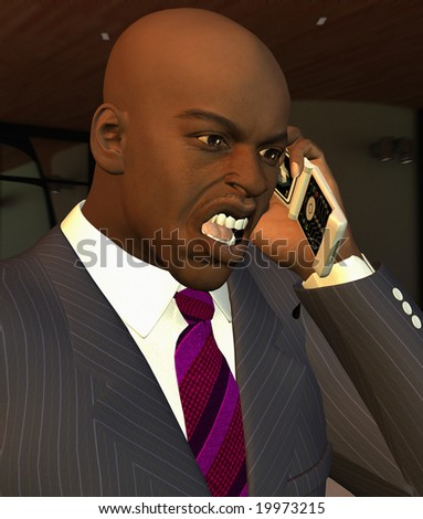 Computer Generated Illustration Of A Businessman Shouting On Mobile Phone - stock photo