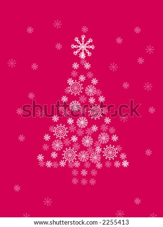 computer generated illustration of  christmas tree on crimson background - stock photo