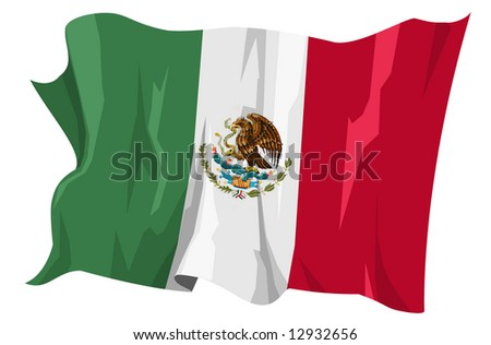 Computer generated illustration of the flag of Mexico