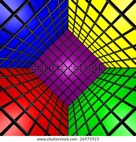 Computer generated image of a 3D colorful cube