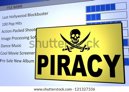 Computer generated image of a piracy alert. Concept for internet piracy. - stock photo