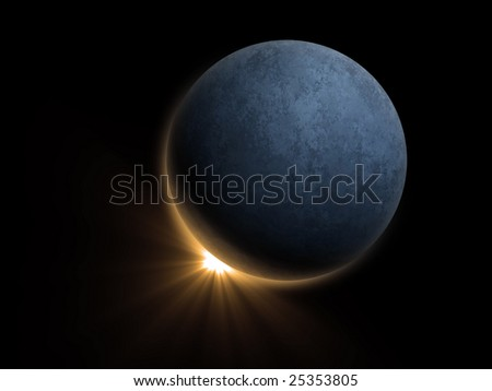 Computer generated image of a planet eclipsing a star. - stock photo