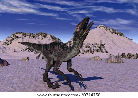 Computer Generated Image Of A Utahraptor Dinosaur
