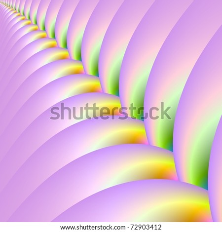 Computer generated image of an abstract marshmallow zip design in pink yellow and green