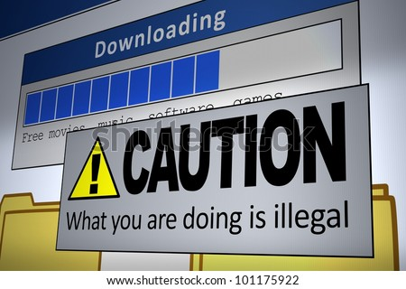 Computer generated image of an illegal download alert. Concept for internet piracy. - stock photo