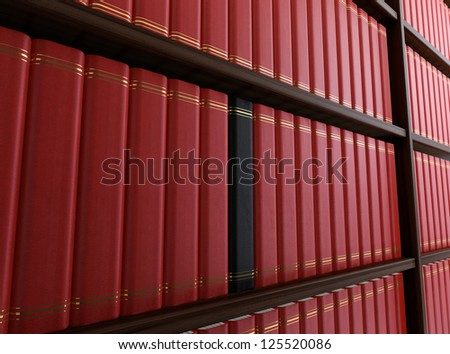Computer generated image of library with black book among red ones