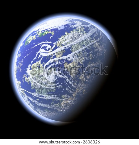 Computer generated image of planet Earth (view from space orbit satellite) - stock photo