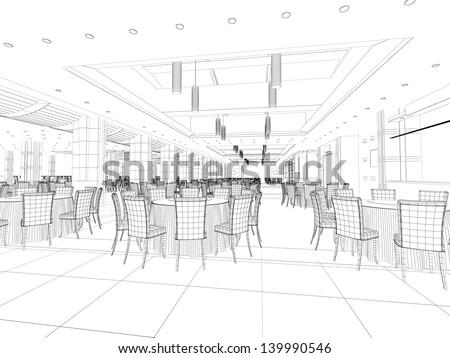 computer generated interior plan - stock photo
