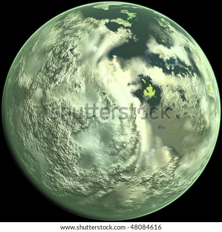 Computer generated planet, isolated over black background - stock photo