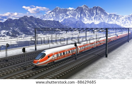 Computer generated red modern high speed train passing snowy mountain railroad station - stock photo