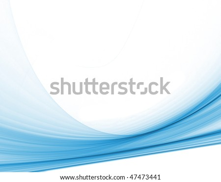 computer generated smooth blue swirls across a plain white background for technology or communication concepts - stock photo