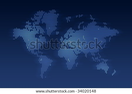 computer generated world map made of small dots