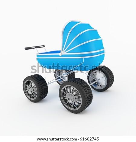 computer genreated blue child pram on white background - stock photo