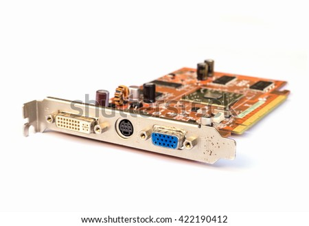 computer graphic card isolated on white background. - stock photo