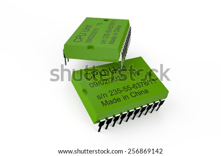 Computer green microchips isolated on white background - stock photo