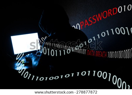Computer Hacker at Work - stock photo