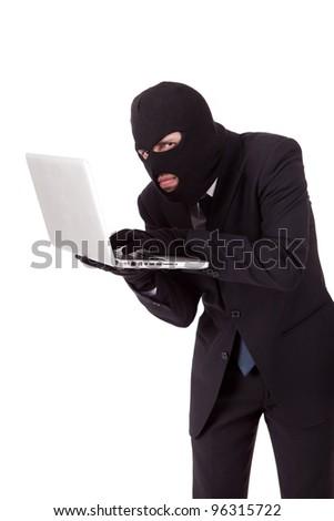 Computer Hacker in suit and tie - stock photo