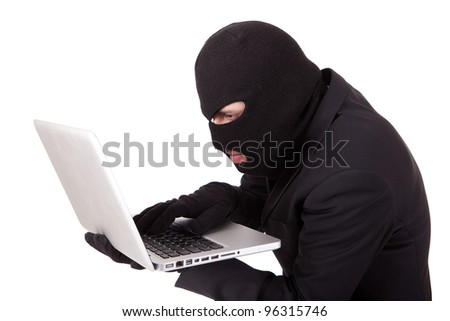 Computer Hacker in suit and tie - stock photo