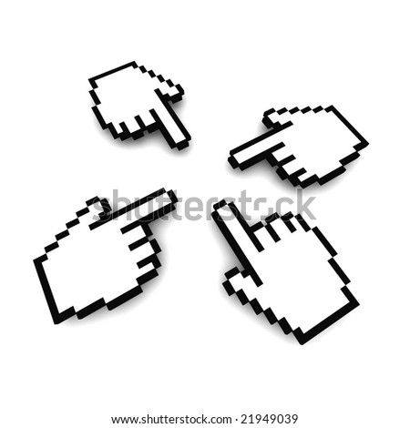 Computer hand cursors 3d rendered image - stock photo