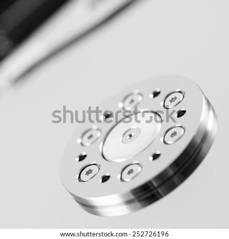 computer hard disk drive close-up shot. shallow depth of field. macro - stock photo