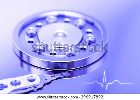 Computer Hard Disk Drive Life With Ekg Line - stock photo