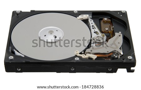Computer hard disk isolated on white background - stock photo